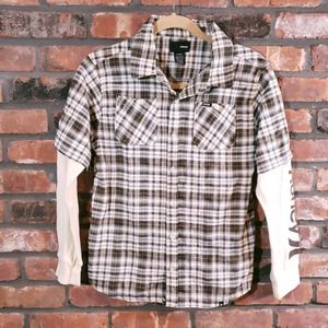 Hurley Layered Plaid Button-front Shirt Thermal